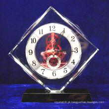 High Grade Crystal Glass Square Relógio Decoração Do Escritório