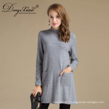 Chandail long en laine de laine de pull de la robe des femmes pour l'automne de ressort d'hiver