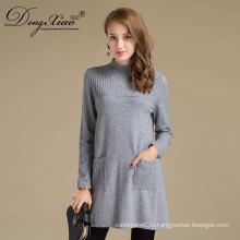 Женское длинное платье пуловер Мериносовая шерсть свитер для зима весна осень
