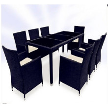 9PCS Black and Brown Wicker Dining Furniture Set