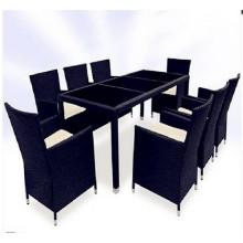 9PCS preto e Brown Wicker jantar conjunto de mobiliário
