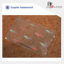 UV protegido malote plástico PET holograma para cartões de papel