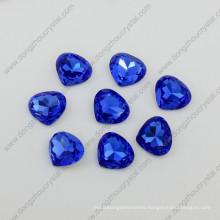 Blue Fancy Stones Heart Shape Shiny Stones Beads