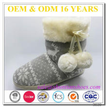 Knitted upper warm faux lambswool lining TPR outsole cheap indoor ladies slipper boots