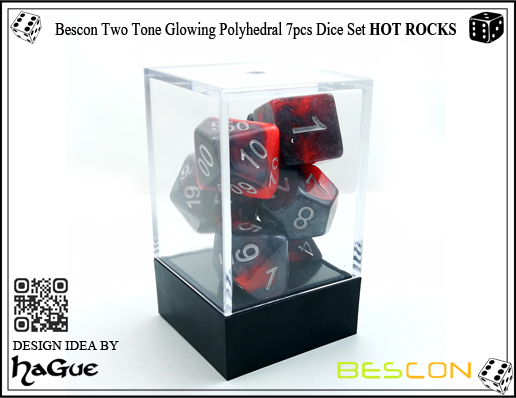Bescon Two Tone Glowing Polyhedral 7pcs Dice Set HOT ROCKS-2