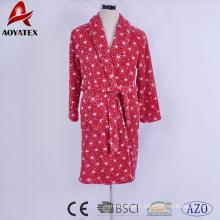 Polaire flanelle douce imprimée belle robe de bain femme rouge