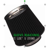 Black Flat 3in Auto Air Filter Universal for Car Air Intake Pipe