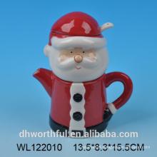 Santa claus ceramic milk jug and sugar with spoon