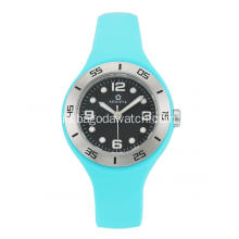 Stainless steel sky blue silicone strap watches