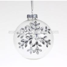Feine Qualität verziert klare Glas Weihnachtskugel