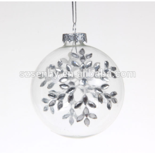 Fine quality decorated clear glass christmas bauble