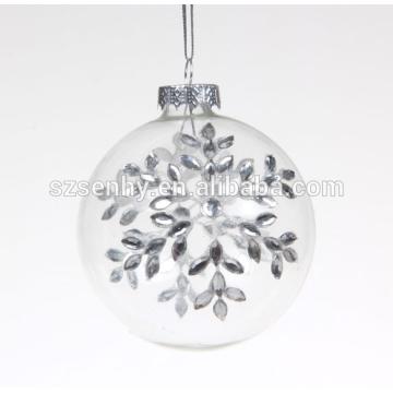 Прекрасное качество украшенный прозрачное стекло Рождество bauble