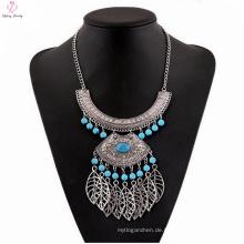 Gotischer natürlicher Stein-Anhänger-große Choker-Halskette, Dame Statement Silver Stone Choker Necklace