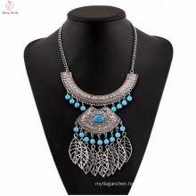 Gothic Natural Stone Pendant Big Choker Necklace, Lady Statement Silver Stone Choker Necklace