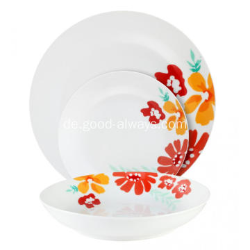 18 teiliges Porzellan Dinner Set, rote Blume