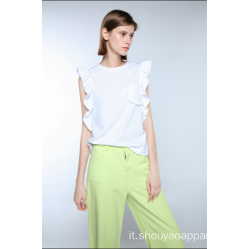 T-SHIRT IN COTONE CON RUCHES DONNA