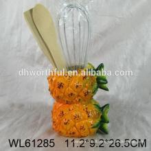 Utensílio de cozinha titular de utensílios de cerâmica com duplo forma de abacaxi sobreposição