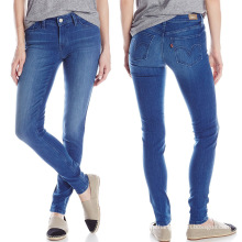 Pantalones de mezclilla de algodón de los pantalones vaqueros delgados de la moda de 2017 señoras de la primavera