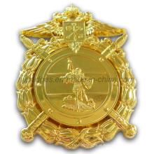 Emblema de uniforme dourado com embreagem de pino de segurança (GZHY-BADGE-001)
