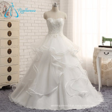 Tiered Button Beading Lace Appliques White Beach Wedding Dress