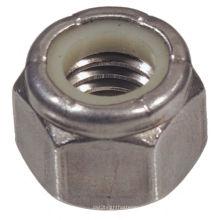 Porcas de segurança de nylon hexagonal de aço inoxidável 304 SS