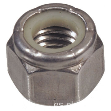 Tuercas de seguridad hexagonales de nailon de acero inoxidable 304 SS