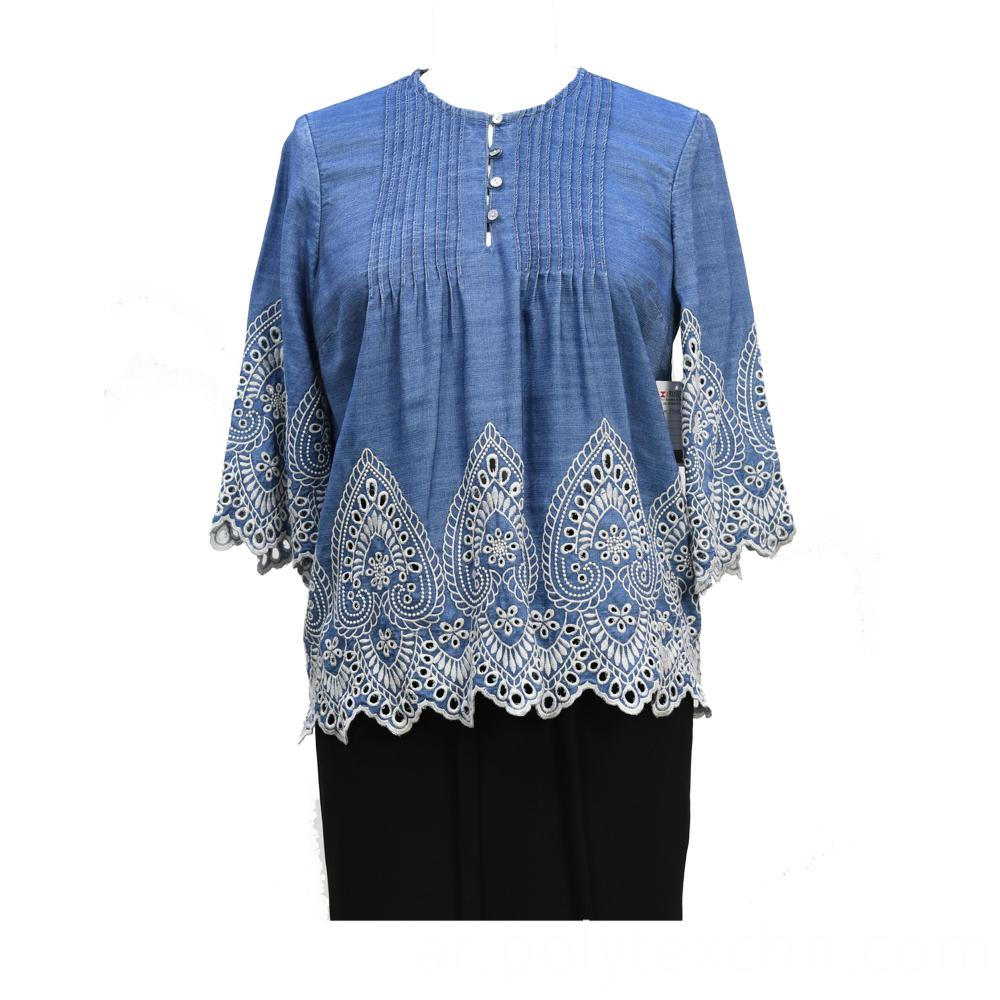Women's Mid Blue Denim Casual Blouse