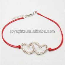 Red wire diamante double heart alloy woven bracelet