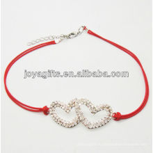 Красный провод диамант двойной сердечный сплав тканые браслет