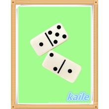 Duplo 6 dominó branco em caixa de PVC