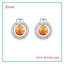 Korea earring wholesale women earrings accessories white gold crystal earring