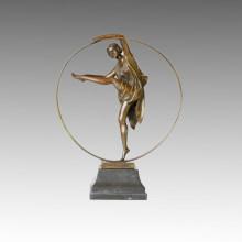 Dancer Statue Hula-Hoop Lady Bronze Sculpture, a. Godard TPE-358