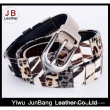Cinto magro de impressão de leopardo de couro genuíno