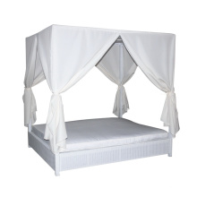 Patio Wicker Leisure Lounge Daybed With Canopy