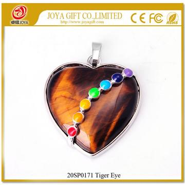 Seven Chakras Crystal Tiger Eye Heart Pendant