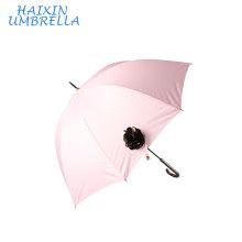 Women Promotion Flower Decorated 190T pongee Korea Popular Hot Sell Straight Ladies Fashion Umbrella Factory China