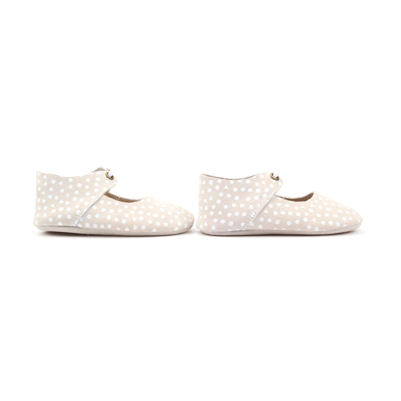White Dots Genuine Leather Baby Oxford Shoes