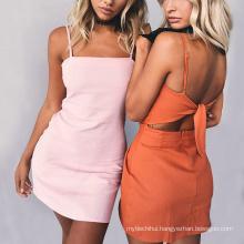 Fashion Summer women maxi dress cheap bandage sexy strap boho beachwear bowknot dress