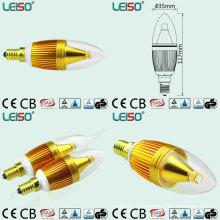 Золотой Цвет светодиодные свечи с 330 градусов угол луча