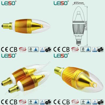 Goldene Farbe LED-Kerzen mit 330 Grad Abstrahlwinkel