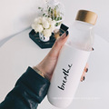 Eco-Friend Bamboo Lid Borcilicate Glass Silicone Water Bottle With Custom Logo