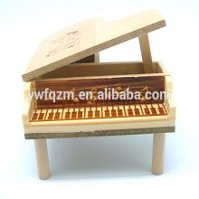 caixa de música de madeira dada forma do mini piano da fábrica