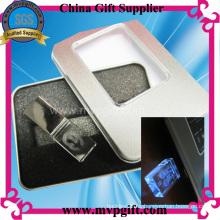 Unidad flash USB de cristal con función de iluminación