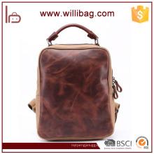 Casual Leather Backpack Bag For Teenager Vintage Canvas Backpack