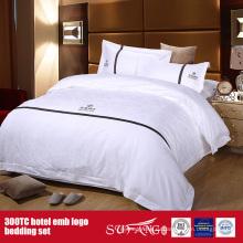 100Cotton постельных принадлежностей гостиницы Логоса вышивки набор отель постельное белье