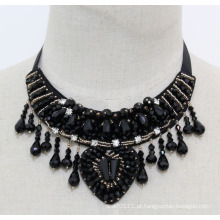 Senhoras frisado cristal moda charme robusto traje bib colar (jE0023)