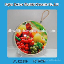 Promotion fruite shape ceramic pot holders with lifting rope