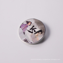 Customized Mini Lapel Badges Gold Plated Glitter Soft Enamel Round Pins