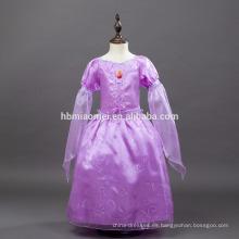 suministro de la fábrica nueva moda color púrpura largo stlye princesa Rapunzel vestido para fiesta de los niños