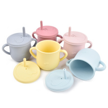 Custom Handles Non Spill Kids Drinking Lid Baby Training Toddler With Straw Silicone Sippy Cup